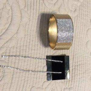 Gold tone rhinestone cuff bracelet & Earrings